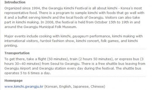 The promotional write-up on Gwangju Kimchi Festival (Courtesy of:http://english.visitkorea.or.kr)