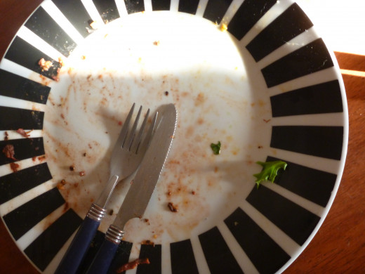 Empty plate, all the sweet potato salad and side of beef eaten!