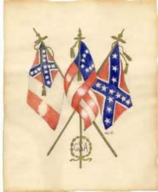 Confederate Soldier's Drawing of Confederate Flags
