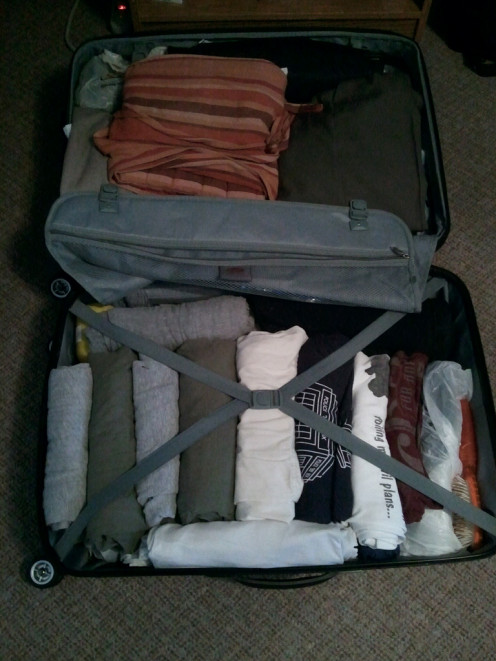Another example of the rolling-clothes method of packing.