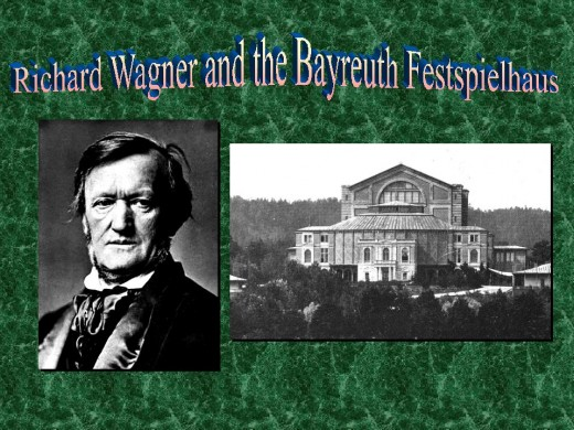 Wagner and his Festspielhaus as it looked in 1885.  (He died in 1883.)