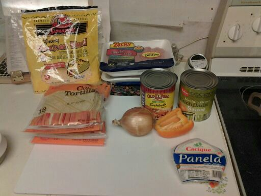 Needed ingredients for red and green chile enchiladas