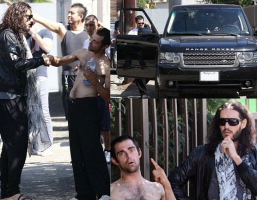 Comedian Russell Brand is spotted helping out a homeless man by giving him his t-shirt, some water and food. He went a step further and even gave the homeless guy a ride in his Range Rover, reportedly to take him to a rehabilitation meeting.
