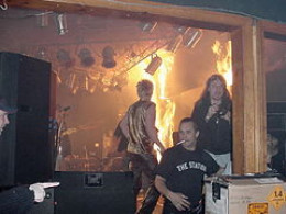 Fire breaks out onstage at The Station