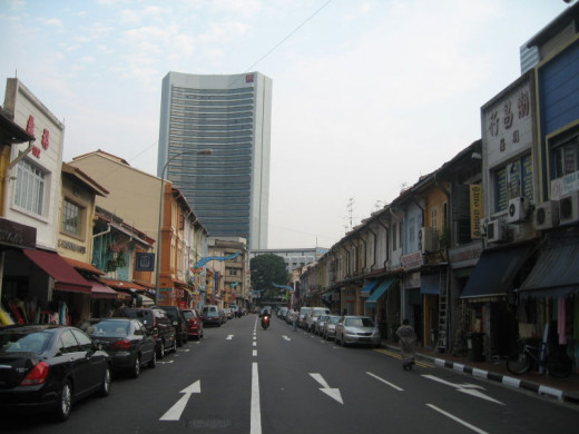 Arab Street at Kampong Glam with shophouses on both sides of the street