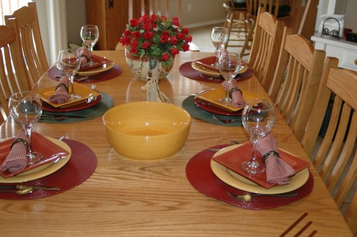 Setting the table ahead of time cuts down on stress at your small dinner party.