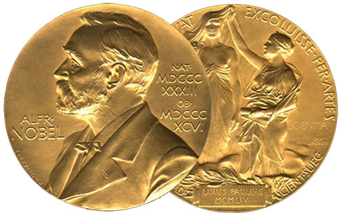 The Nobel Prize Medal and a monetary award are awarded annually to scientists, writers, and to promoters of peace in the world. This the front and back of the prestigious award