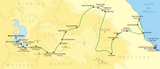 A map showing the route that Cortes and his invasion route took.