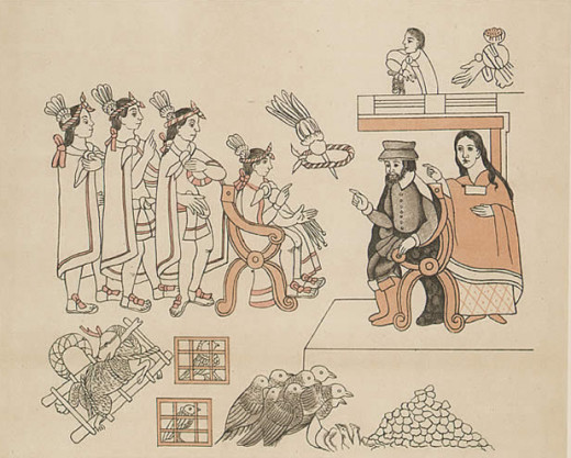 Cortes and his native ally Malinche meeting the Aztec Emperor, Montezuma.