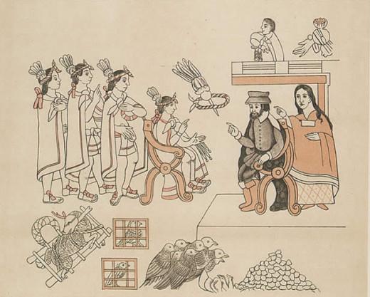 Cortes and his native ally Malinche meeting the Aztec Emperor, Montezuma.