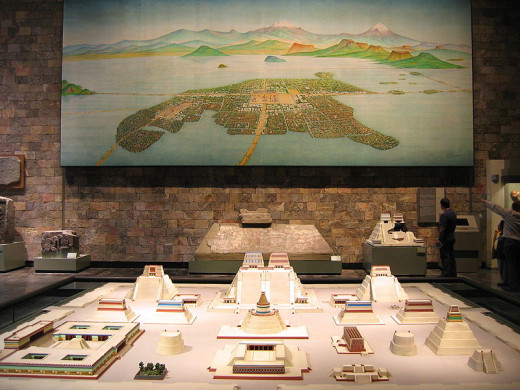 A reconstruction of the great Aztec city of Tenochtitlan.