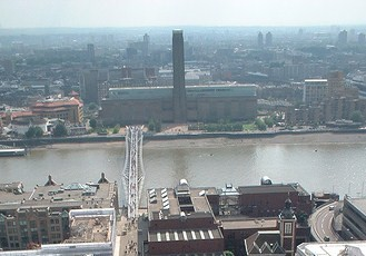 Tate Modern and Millennium Bridge from St. Paul's Cathedral