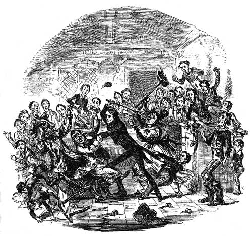Nicholas Nickleby snaps and fights back.