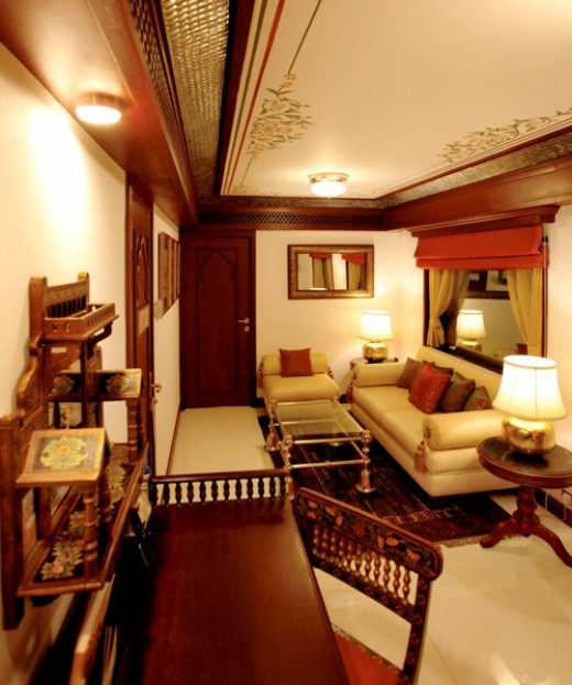 The elegant and tastefully appointed living room of Maharajas' Express Presidential Suite