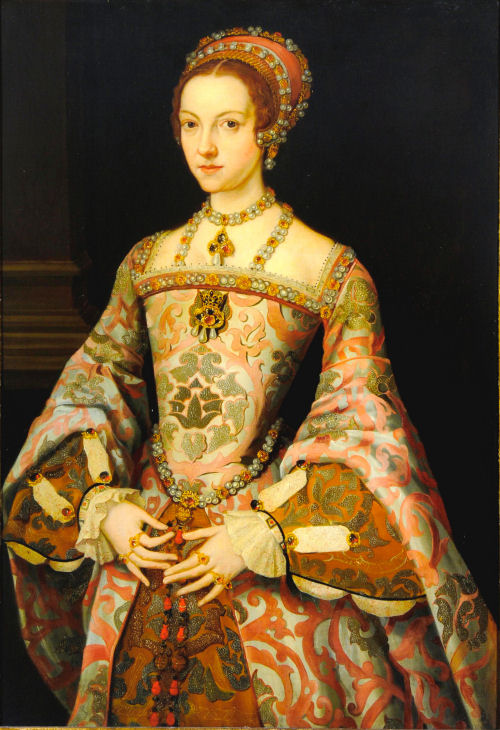 This portrait has previously been identified as Lady Jane Grey, but it bears a resemblance to Katharine Parr