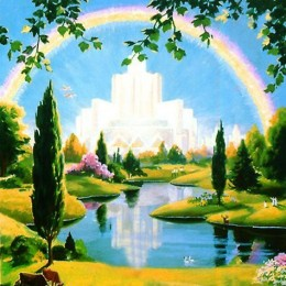 An artists rendering of the Christian heaven.