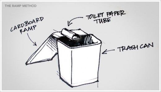 The mouse walks up the cardboard ramp and out into the end of the toilet paper tube where you have bait. The tube and the mouse falls into the deep trash can and the mouse is trapped.