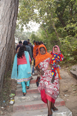 People on the staircase to the top of Chandi Hill