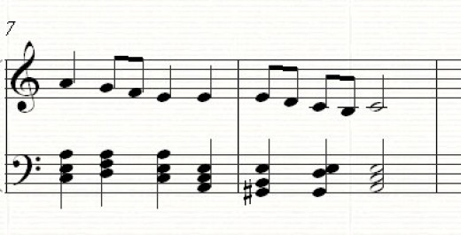 A falling melodic minor scale with the 6th and 7th degrees lowered