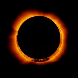 The moon passing in front of the sun. Solar Eclipse