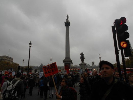 Trafalgar Square, London- Protest during the Occupy movements