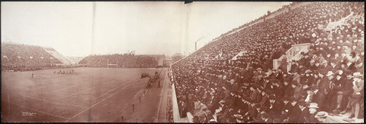 The first permanent football stadium in the United States at Harvard University in 1903