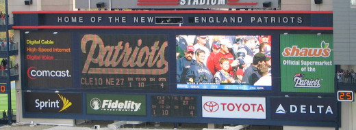 The scoreboard at Gillette Stadium, home of the New England Patriots