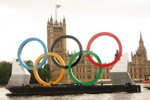 Olympic rings on a pontoon between Albert Embankment and The Houses of Parliament in London, 2012.