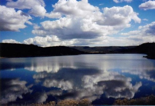 Reflection on Quemado Lake.