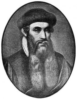 Johannes Gutenberg; drawn after his death.