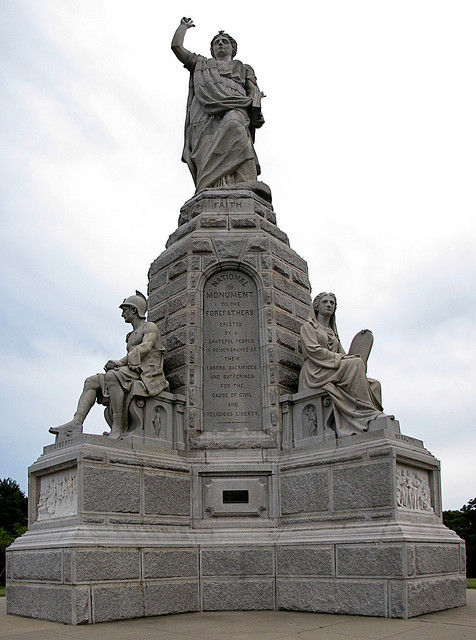 """It reads: """"Erected by a grateful people in remembrance of  their labor,sacrifices, and sufferings for the cause of civil and religious liberty."""""""