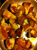 Roast potatoes out of the oven