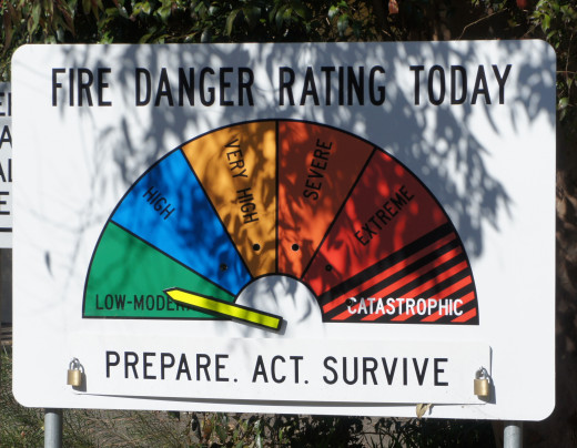 The old fire warning signs topped out at EXTREME. Subsequent to the 2009 Victoria fires a new level has been added - CATASTROPHIC - which pretty much sums it up. What next? APOCALYPTIC?