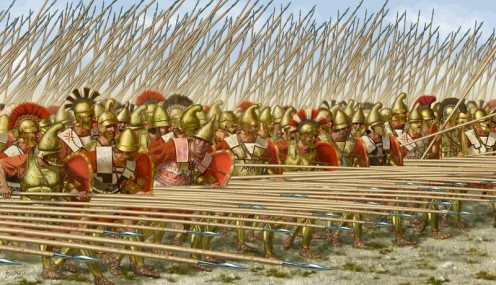 Greek hoplites in phalanx formation.