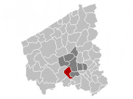 Map location of Moorslede municipality in West Flanders province