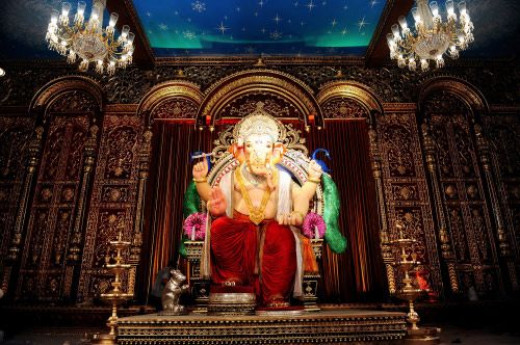 Lord Ganesha Idol inside the decorated pandal