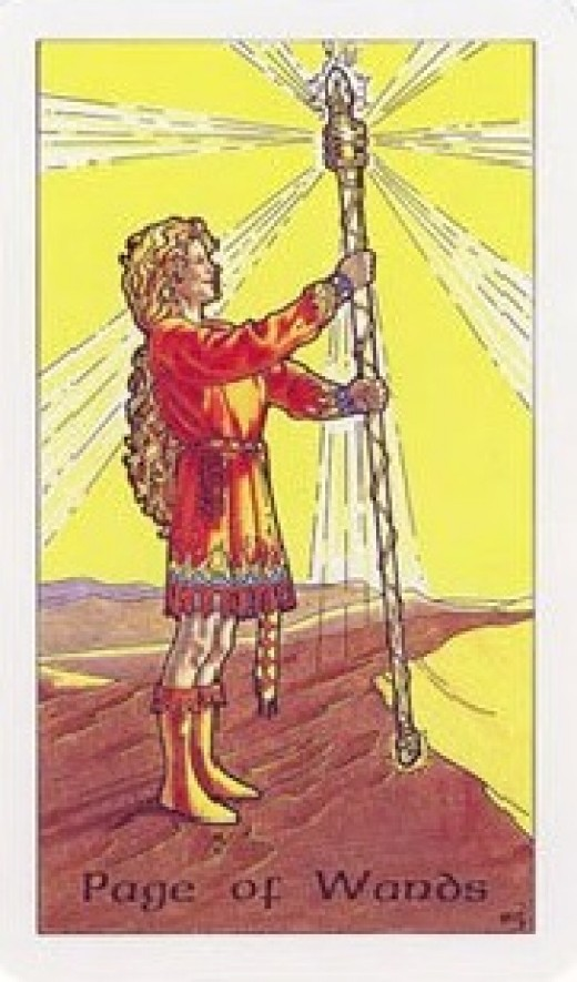 Page of Wands from the Robin Wood tarot.
