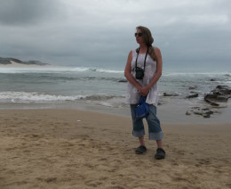 The Hub author Teresa Schultz enjoying some fresh salty sea air while beachcombing at Kidds Beach near East London in South Africa.
