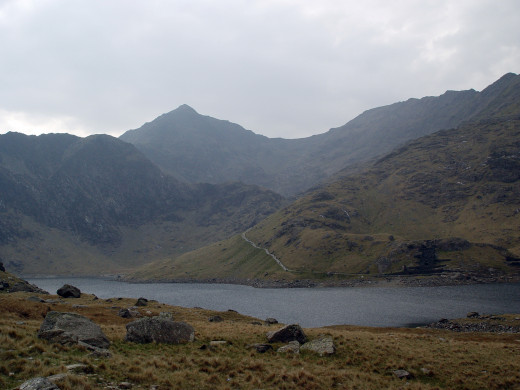 The peak of Snowdonia, visible in the background