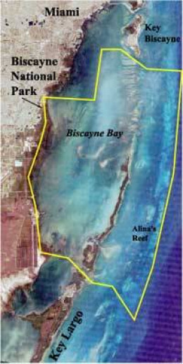 Boundary Map of Biscayne National Park overlaid on satellite image