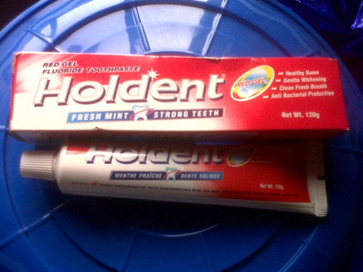 A sample of toothpaste for acne
