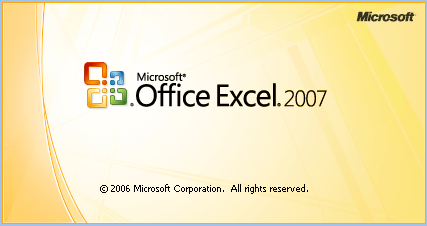 Excel 2007 Splash Screen, welcoming you to new experiences with Excel 2007.