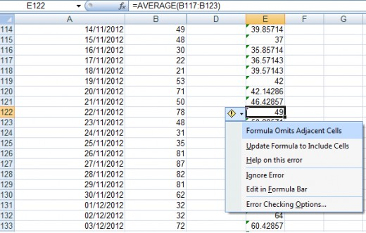 Excel 2007 displaying errors on formulas that omit adjacent cells.