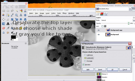 "Then you need to desaturate the top layer.  Go to ""colors"" then to ""desaturate"" and select which type you want."