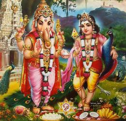 Señor Ganesha y Señor Murugan