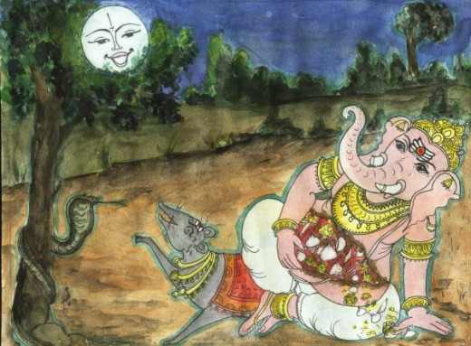 Lord Ganesha and the Moon