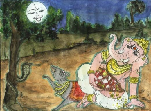 Lord Ganesha and the Moon
