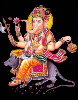 Señor Ganesha y su vehículo de ratón