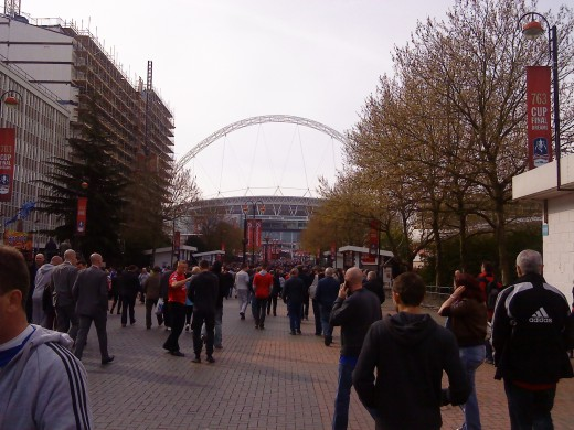 Wembley Way - view towards the stadium as you leave the Tube (underground station) .