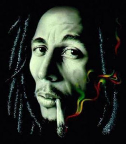 Bob Marley, famously smoking weed in the Jamaican flag colors...